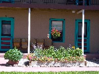 Chama Station Inn flowers across from Cumbres Toltec Rail Road